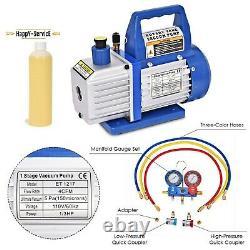 Combo 4CFM 13HP Air Vacuum Pump HVAC + R134A Kit AC AC Manifold Gauge Set Oil