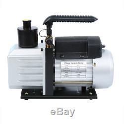 Combo 5CFM 1/3HP Air Vacuum Pump HVAC + R134A R22 Kit AC A/C Manifold Gauge Set