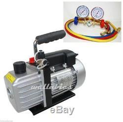 Combo AC A/C ELECTRIC Air Vacuum Pump + R12 R22 R502 AC MANIFOLD GAUGE SET