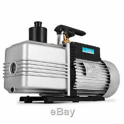 Dual 2 Stage 12CFM 1 HP Rotary Vane Deep Vacuum Pump HVAC AC Air Tool R410a R134