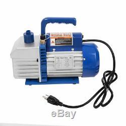 Dual 2 Stage 4CFM 1/3HP Rotary Vane Deep Vacuum Pump HVAC AC Air Tool R410a R134