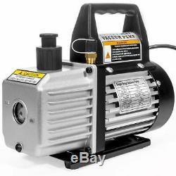 Heavy Duty Air Vacuum Pump Refrigeration Kit AC Manifold Gauge Carrying Tote