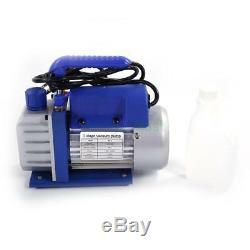 Manifold Gauge Hose Air Conditioner R134a R12 R22 + 3CFM Rotary Vane Vacuum Pump
