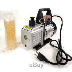Manifold Gauge set Combo 3 CFM 1/4HP Air Vacuum Pump HVAC + R134A Kit AC A/C