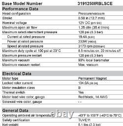NEW 12V Thomas Compressor Air Ride RV Air Brake/ Air Horn Air Shock 309CDC56/12