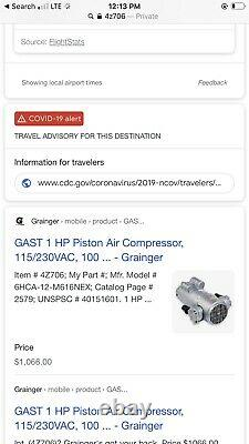 NEW GAST 1 HP Piston Air Compressor