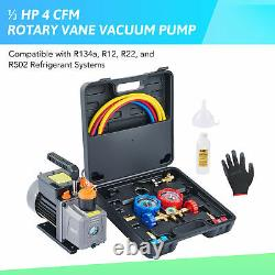 OMT 4cfm Air Conditioner Vacuum Pump and Gauge Set for R12 R22 R134a R502 AC
