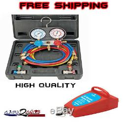 R134A AC A/C Manifold Gauge Set with Hoses and Air Vacuum Pump R12 New R 134 A