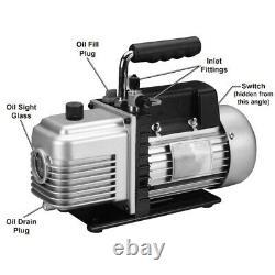 Refrigeration Two Stage Vacuum Pump 3CFM AC Air Manifold HVAC R134A R12 R22