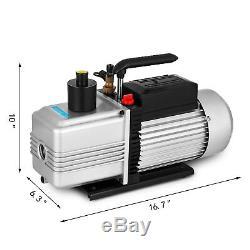 Single Stage Rotary Vane 12CFM 1HP Deep Vacuum Pump HVAC AC Air Tool