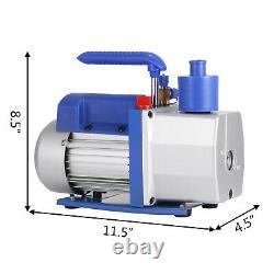Single Stage Vacuum Pump Rotary Vane 7CFM 1/2HP Deep HVAC AC Air Tool Black New