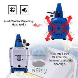 VIVOHOME 3.5CFM 1/4HP Air Vacuum Pump HVAC Refrigerant Kit AC Manifold Gauge