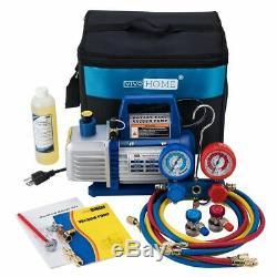 VIVOHOME 3.5CFM Air Vacuum Pump HVAC Refrigerant AC Manifold Gauge Combo Kit Set