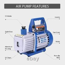 VIVOHOME 4CFM 1/3HP Air Vacuum Pump HVAC Refrigeration AC Manifold Gauge R134a