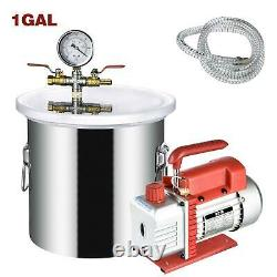 Vacuum Chamber 5/3/2/1.5/1 Gallon Degassing Silicone 3CFM 1 Stage Pump Air Kit